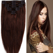 .  100% Remy Human Hair 70g 50cm Long Straight Hair Extension Full Head 8 PCS 18 Clips in medium brownk For Woman Ladies Hairpiece