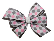 WD2U Girls Sparkling Silver Pink Diamond Christmas Holiday Hair Bow French Clip