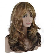 eNilecor 3 Tones Blonde Mixed Wigs 50cm Medium Long Curly Full Natural Women Heat Resistant Synthetic Highlights Hair Custom Party Wig with Side Bangs+ Wig Cap