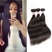 Beautier Straight Brazilian Human Hair Extension 3 Bundles 100% 6a Unprocessed Virgin Hair Natural Black