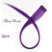 Purple Clip in Human Hair Extensions Straight 100% Remy Human Hair Purple Clip in Highlights 5 Pieces/set 46cm Colour Purple