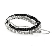 Glamorousky Elegant Barrette with Black and Silver Austrian Element Crystal