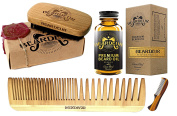 Beard Kit, Boar Bristle Brush, Beard Comb, Small Moustache Comb, Leave In Conditioner Oil for Facial Hair, Grooming Kit