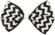Capelli New York Girls Zig Zag Print Bow Clip White One Size