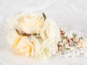 Bridal flower headband pretty rose lace with crystal