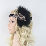 Meiliy Vintage Black Sequined Headpiece Art Deco 1920s Gatsby Flapper Headband With Feather
