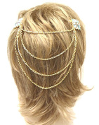 Head Jewellery ~ Blue Flower Hair Clip and Hanging Back Chain Hair Chain