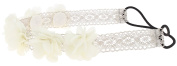 Capelli New York Girls Chiffon Flowers and Gem Headwrap Ivory One Size