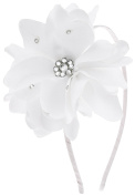 Capelli New York Girls Satin Covered Headband with Gems Flower White One Size