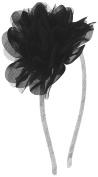 Capelli New York Girls Metallic Ribbon Headband with Flower Black One Size