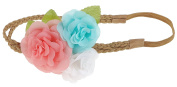 Capelli New York Girls Double Row Braided Faux Suede Headwrap Pastel Combo One Size