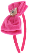 Capelli New York Girls Velvet Bow Headband with Reindeer Pink One Size