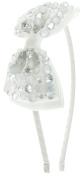 Capelli New York Girls Glitter Gems Wrapped Metal Bow Headband White One Size