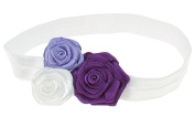 Capelli New York Infant Girls Fold Over with 3 Satin Rosettes Head Wrap Purple Combo One Size