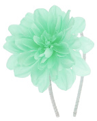 Capelli New York Girls Metallic Ribbon Wrapped Headband with Flower Pale Green One Size