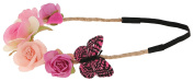 Capelli New York Girls Rose and Butterfly Braided Headwrap Pink Combo One Size