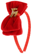 Capelli New York Girls Velvet Bow Headband with Reindeer Red One Size