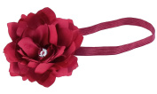 Capelli New York Girls Satin Flower and Gem Centre Headwrap Burgundy One Size