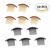 10PCS Fireboomoon Contemporary Seven Tooth French Twist Comb, Black And Brown(Two colours, each five).