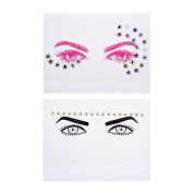 Kloud City Pack of 2 Bindi Rave Glitter Temporary Face Head Stickers Body Tattoo In Random Colour