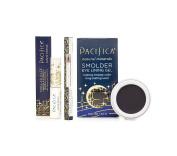 Pacifica Stellar Gaze Length & Strength Mascara – Supernova Black, Natural Eye Pencil – Jet Black & Pacifica Smoulder Eye Lining Gel – Midnight Bundle with Brown Kelp and Sunflower Seed Oil