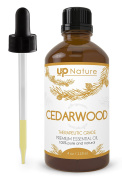 UpNature The Best Cedarwood Essential Oil 120ml - Organic - 100% Pure & Natural, Undiluted & Unfiltered, Premium Quality With Glass Dropper - For Hair Growth - Perfect For Dogs & Fleas & Yard