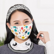 2 Pcs Cartoon Cotton Mask with Filter Sheet for Anti Haze