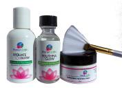 30% Glycolic Acid Skin Peel Kit + Glycolic Pre-Peel Cleanser + Antioxidant Recovery Cream + Treatment Brush