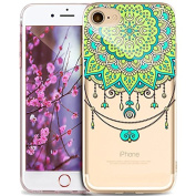 iPhone 6S Plus Case,iPhone 6 Plus Case,ikasus Ultra Thin Soft TPU Datura Mandala Sun Lace Flowers Soft Silicone Rubber Bumper Case,Crystal Clear Soft Floral Silicone Case for iPhone 6S/6 Plus 14cm ,#13
