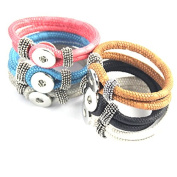 Simple Ever 22cm Multicolors Artificial Leather Bracelets Fit for 5.5mm 18mm Snap Button Charms Pack of 6