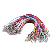 BIHRTC Pack of 50 Mixed Colour DIY Leather Plaited Cords Ropes with Lobster Clasps Extended Chain for Charms Bracelets Jewellery Making
