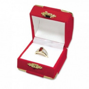 Red Velvet with Brass Accents Ring Jewellery Display Gift Boxes