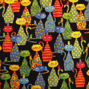 Japanese Wrapping Cloth 48cm - 0.6cm , Furoshiki Bag - Packed Cats on Black