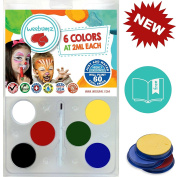 Face Painting Kit For Any Event by Weebumz. (Paints 60 Full Faces) Vegan, Pro Quality Party Set with 6 Vibrant Colours, 1 Brush. Safe, Water-Based Paint. Non-Toxic Palette + Bonus Ebook.