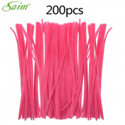 Saim Rose Pink Coloured Pipe Cleaners Chenille Stems 30cm for Creative Handmade Arts and Crafts