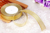 Feyarl 1.6cm Wide by 50-yards(2 rolls X 25yd) Premium Glitter Metallic Sparkle Ribbon for Crafters, Wedding, Holiday ,Home Deco, Gift Wrap, Card Making, Hair Bows, Floral Projects