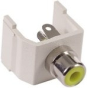 Hubbell SFRCY Snap-Fit RCA Solder Coupler Termination, Office White