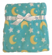 In-Obeytions Cuddly Soft Plush Fleece Baby Blanket, Blue Moon & Stars, 80cm x 80cm