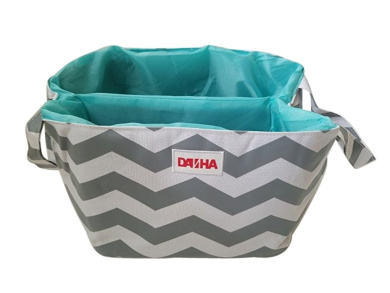 Danha Grey Chevron Nappy Storage Caddy