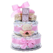 This Very Adorable Two-Tier Nappy Cake For A Baby Girl