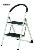 Delxo Lightweight Steel Step Stool with Handgrip 150kg White and Black Folding 2 Step Ladder Stool