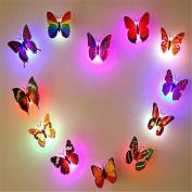 12 PCS Creative Small Lamp Flashing Colourful Butterfly Night Light Wall Stickers Lamp LED Decorative Night Lights Random