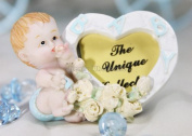 Poly Resin Baby Shower Picture Frame with a Baby Boy on the Side
