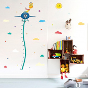 Wallpark Cartoon Giraffe on Aeroplane Height Sticker, Growth Height Chart Measuring Removable Wall Decal, Children Kids Baby Home Room Nursery DIY Decorative Adhesive Art Wall Mural