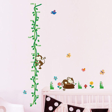 Wallpark Lovely Little Monkey Climbing Green Vines Height Sticker, Growth Height Chart Measuring Removable Wall Decal, Children Kids Baby Home Room Nursery DIY Decorative Adhesive Art Wall Mural