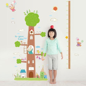 Wallpark Large Cute Rabbit Tree House Height Sticker, Growth Height Chart Measuring Removable Wall Decal, Children Kids Baby Home Room Nursery DIY Decorative Adhesive Art Wall Mural