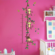 Wallpark Cartoon Naughty Monkeys Climing Tree Height Sticker, Growth Height Chart Measuring Removable Wall Decal, Children Kids Baby Home Room Nursery DIY Decorative Adhesive Art Wall Mural