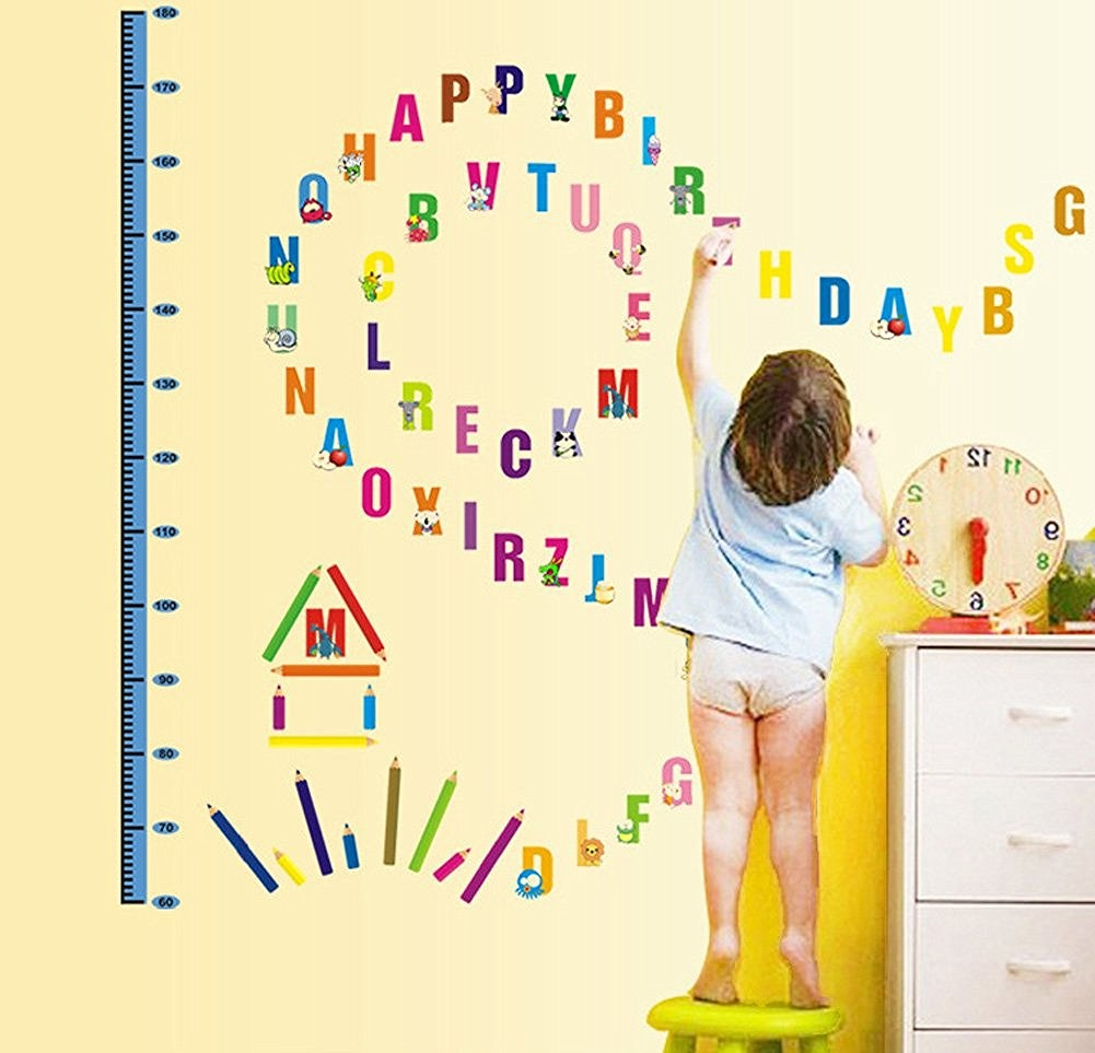 Wallpark Cartoon Animals English Letters Height Sticker, Growth ...