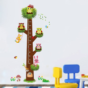 Wallpark Large Cute Owls with Dancing Rabbit on Brown Tree Branches Height Sticker, Growth Height Chart Measuring Removable Wall Decal, Children Kids Baby Home Room Nursery DIY Decorative Adhesive Art Wall Mural