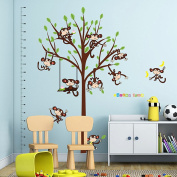 Wallpark Cartoon Naughty Monkeys Swinging on Tree Height Sticker, Growth Height Chart Measuring Removable Wall Decal, Children Kids Baby Home Room Nursery DIY Decorative Adhesive Art Wall Mural